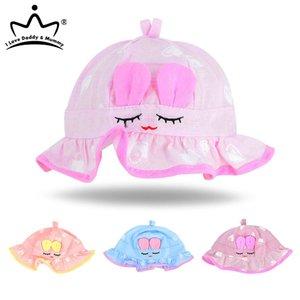 Cartoon bébé Hat pour bébé bébé Panama Ruffle Chapeau d'été de coton du nouveau-né Protection contre le soleil Cap