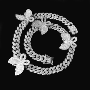 12 мм со зналением Bling CZ Miami Cuban Link Chain Chainfly Chare Choker Ожерелье Хип-хоп Рок Блен Ширистые Крутые Женщины Мужчины Ювелирные Изделия