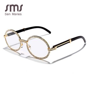 Sen Maries 3aaa Diamant-Sonnenbrille Männer Frauen Neue Luxus-Weinlese-runde KubikZircon Brillen Mode Brillen UV400 Gafas Y200619