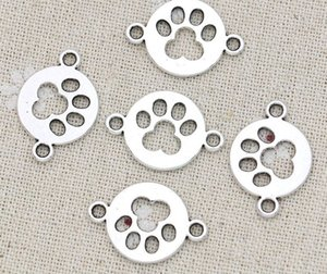 100pcs lot Ancient Silver Alloy Paw Print Dog Footprint Charms Components Pendants For diy Jewelry Making findings 24x17mm
