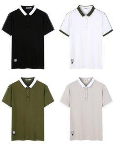 Mens Designer Polos Turn Down Collar Regular Tees Short Sleeve Solid Color Mens Patchwork Casual Tops