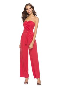 Naked shoulder and waist, fold more breast-wiping jumpsuit pants
