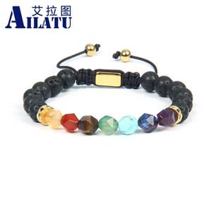 Ailatu Armband Frauen Chakras flechte Armband mit facettiertem Schnitt-Stein Healing Angst Relief Chakras Schmuck CX200724