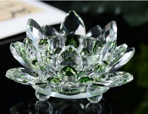 2020 Manufacturers spot wholesale crystal lotus candlestick decoration crystal glass candle stand butter lamp stand home furnishing 002