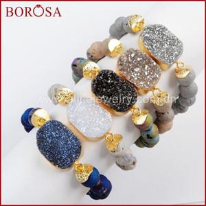 Borosa pulsera Druzy 5PCS nuevo oro de color titanio con los granos 10mm colores mezclados de la joyería pulseras brazalete de gemas de la Mujer G1536