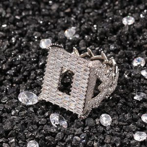 Hip Hop Fashion Jewelry Gold Silver Plated Two Sides Hollow Out Design Square Bling Bling Zircon Ring For Men