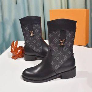 Femmes Martin Bottes mi -Calf luxe Chaussures De Femme Mode Chaussures Femmes Chaussons style vintage Femmes Lady Bottes Chaussures Casual Drop Ship