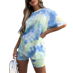 2020 Hot Sale Summer Womens 2 Pieces Suit Set Tie-Dye Print Round Neck Short Sleeve T-Shirt Short Pants Sports Fitness Tracksuit