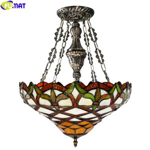 FUMAT Tiffany Style Pendant Lamp Stained Glass Reverse Chandelier Multicolor House Decor Handicraft Art Light Classical Nordic