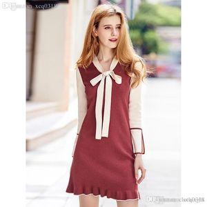 cloth 2020 Women Bow Sweaters Dress Pullovers New Winter Warm Long Knitted Sweater Knitwear Poncho Tunics Wind Red Beige Plus Size Dress