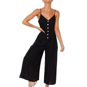 Femmes d'été Bouton en vrac vers le bas Sling longues Camisoles Combinaisons Sexy Ladies manches Salopette Barboteuses Pantalon large jambe Overol Mujer