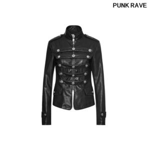 female Pocket and the buckle loop as decoration Slit at back pu leather Military Uniform Show thin Short Coat PUNK RAVE Y-768