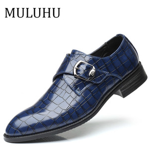 MULUHU 2019 Spring New Fashion Men Dress Shoes Leather Buckle Strap Elegant Business Office Wedding Shoes Pointed Toe Size 38-48 CX200731