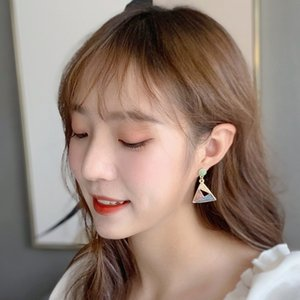 than Landi S925 Silver Pin Dongdaemun Earrings Creative Contrasting Color Starry Drop Oil All-match Earrings Triangle Earrings