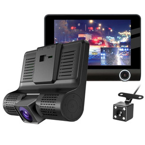 New 3 Cameras Car DVR 4 inch IPS Dash Cam three-way high-speed Full HD 1080P Driving DVRs Dual Lens Special Recorder for Travel