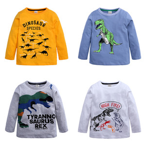 Baby Boys T Shirt Kids Boy Long Sleeve T-shirt Tops Clothes Cotton Pullover Dinosaur Letter Cartoon Autumn Children Clothing M2372