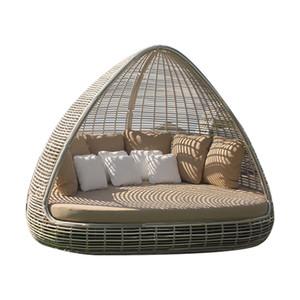 muebles de jardín de diseño de lujo del patio grande de mimbre balancín baño de sol para la venta