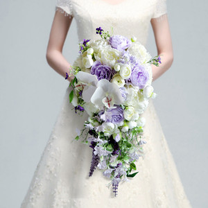 Stunning Bridal Bouquets 2020 New Arrival 24*50cm Wedding Acccessories Bouquets Ivory with Purple Flowers Free Shipping