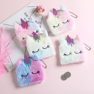 unicorn unicorn plush purse square Coin Bag wallet Toy wallet cartoon children's toy small purse girl change coin bag