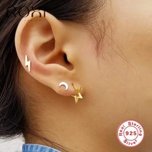 ROXI 925 Sterling Silver Exquisite Stud por Mulheres oco jóia de cinco pontas Studs orelha estrela brincos Penetrante