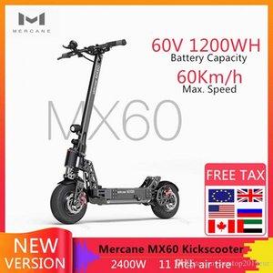 """가장 새로운 Mercane MX60 스마트 전기 스쿠터 2400W의 60km/h 100km Kickscooter 범위 11 """"타이어 듀얼 브레이크 롱 스케이트 보드를 foldabe"""