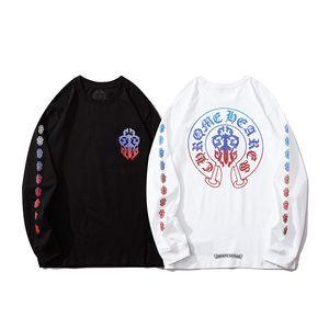 La moda masculina aire libre para mujer camiseta ChromeCorazones de Hip Hop de algodón para hombre fuera camiseta de la ropa aficionados cuello redondo Tops desgaste completo largo de la manga