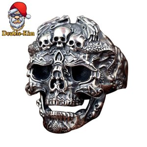 Skull Resizable Ring Titanium Stainless Steel Material Rings Hiphop Rock Street Culture Fashion Trendy Man Jewelry Gift