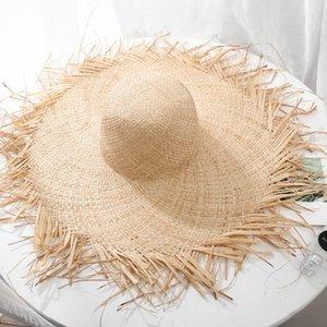 Handmade Weave 100% Raffia Sun Hats For Women 15cm Large wide Brim Straw Hat Outdoor Beach hats Summer Caps Chapeu Feminino
