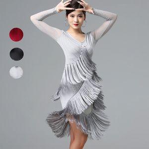 Новый латинский танец платье женский танец платье новый спектакль тя румба бахрома латинская конкуренции платья