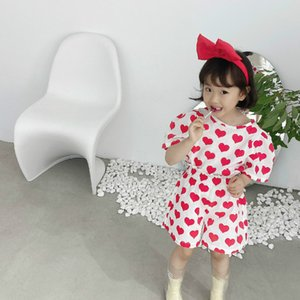 2020 Summer New Arrival Girls Fashion Heart Suit Top+short Kids 2 Pieces Sets Kids Clothes