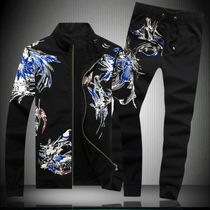 Chinese style two pieces sets fashion casual jacket and pants sets New arrival top quality cotton exquisite printing men's suits