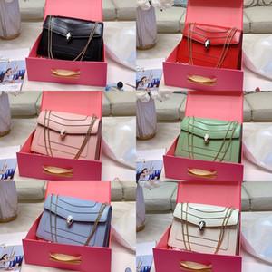 Bolsos de hombro de las mujeres Serpenti con oro de los bolsos de Matal 100% piel de becerro de la señora vestido formal Crossbody Bolsa Negro Verde monederos rosados con la caja