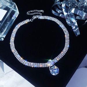 Циркон цветок ожерелье Посеребренных короткая цепь Кристалл Choker для женщин капли воды ожерелья Люкса Chocker шеи ювелирных подарков