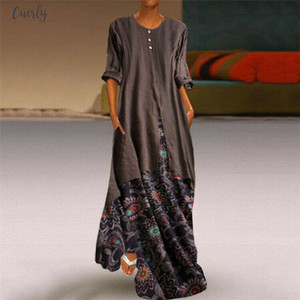 Hot Elegant Linen Floral Ethnic Long Dress Woman Autumn Boho O Neck Long Sleeve Loose Maxi Dresses Plus Size 5Xl Vestido