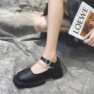 Spring and Autumn 2020 new wild square toe chain thick heel big toe leather shoes personality Mary Jane single shoes female X339