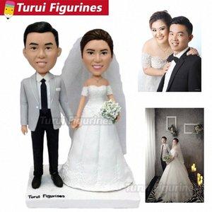Японские Свадебный торт Топпер Customized Пупс Статуэтка Кукла из фотографии реальных людей Лица скульптуры Главной украшения F2Xi #