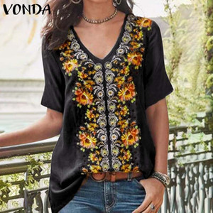 VONDA Tunic Womens Tops And Blouse 2020 Summer Vintage Floral Printed Shirts Female Short Sleeve Tops Plus Size Blusas S-5XL Y200622