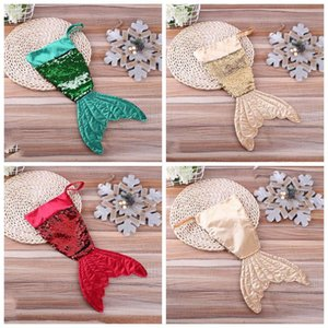 Christams Decorations Mermaid Christams Stocking Gift Wrap Bags Bling Bling Bead Flip Tail Socks Xmas Home Decor 3 Colors 16inch YSY253