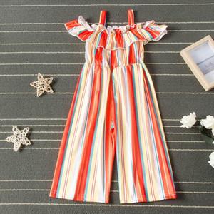 rainbow stripe girls jumpsuit Summer Girls Braces Suspenders fashion kids Beach pants kids designer clothes girls rompers
