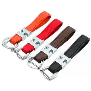 Fashion key chain men's and women's leather stainless steel key chain platinum key chain with 12 colors 1PC