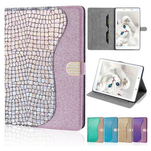 TPU PU Leather Tablet Case for Samsung Galaxy Tab A 8.0 T290 T510 T860 T580 T590 T720 iPad Pro 11 2020 Laser Glitter Flip Stand Cover Case