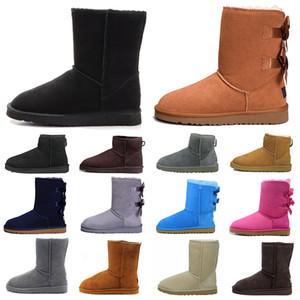 ugg uggs boots Hotsale UGG 패션 디자이너 여성 발목 겨울 호주 부츠 브라운 키 베일리 Bowknot 무릎 허벅지 높은 모피 부팅을 통해 작업의 눈을 여자
