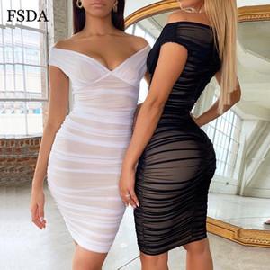 FSDA 오프 숄더 V 넥 메쉬 셔링 파티 드레스 화이트 블랙 여성 미디 Bodycon 섹시한 Clubswear 여름 민소매