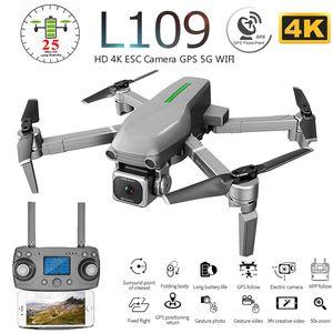 L109 L109-Pro GPS Profissional Drone com HD 4K ESC Camera 5G WiFi FPV Optical Flow Brushless Motor RC Quadrotor helicóptero de brinquedo