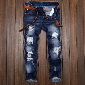 2020 new leisure trend nightclub fashion printing locomotive trousers men hole patch embroidery designer straight personality jeans men