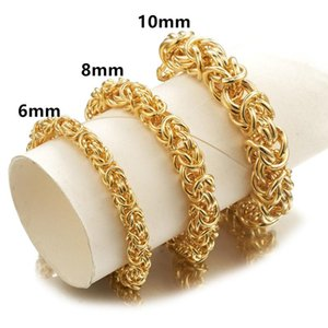 6 8 10MM Charming Jewelry Stainless Steel Gold Color Handmade Circle Byzantine Chain Men's Women's Bracelet Wristband 7-11inch