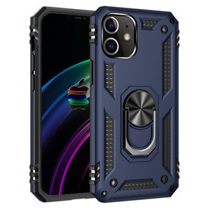 Shockproof Armor Kickstand Phone Case For iPhone 12 Pro Max Finger Magnetic Ring Holder Anti-Fall Cover