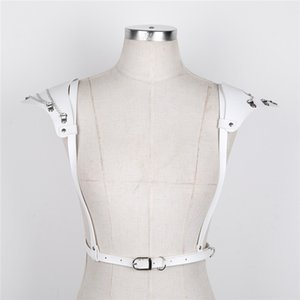 TiaoBug 여성 인조 가죽 어깨 패드 하라주쿠 고딕 펑크 조정 바디 가슴 하네스 여성 섹시 속박 벨트 톱 의상