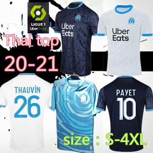S-4XL Maillot OM Olympique de Marseille jérsei de futebol 2020 2021 Marselha Maillot de pé BENEDETTO PAYET L GUSTAVO 20 21 Thauvin camisas