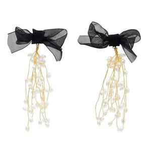 Elegant Black Bowknot Long Tassel Pearl Earring Bridal Wedding Charm Drop Earrings Party Jewelry